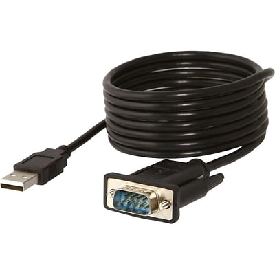 Sabrent® 6 USB 2.0 to 9-pin DB-9 RS-232 Serial Adapter Cable; Black