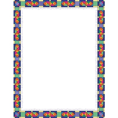 Barker Creek 11 x 8 1/2 Computer Paper, Stained Glass, 50/pk