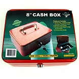Trademark Global® Stalwart™ 8 Key Lock Cash Box With Coin Tray; Red
