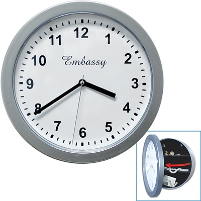 10 x 10 Hidden Safe Wall Clock, Silver