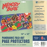 C-Line Memory Book Panoramic Fold - Out Page Protector, 12 x 12, Clear