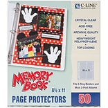 C-Line Memory Book Top - Load Page Protectors, 8 1/2 x 11, Clear