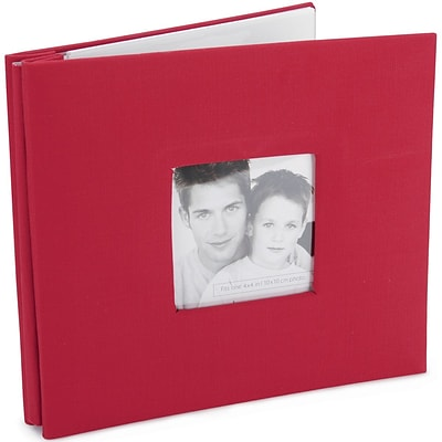MBI Fashion Fabric Cover Postbound Album With Window, 8 x 8, Red