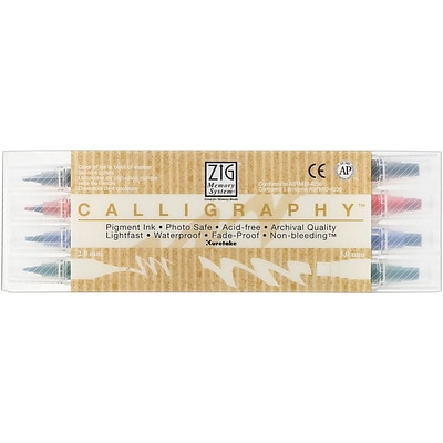 Zig® Memory System Calligraphy Dual-Tip Markers, 4/Pack