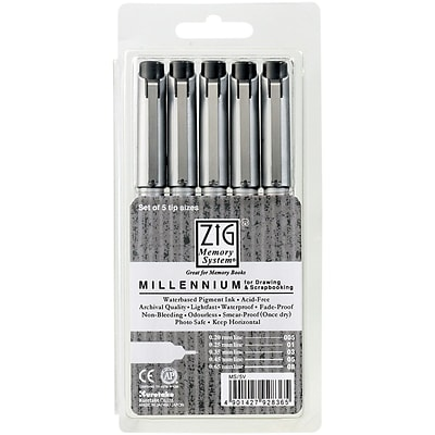 Zig® Memory System Millennium Assorted Marker, 5/Pack, Pure Black