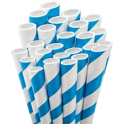 Aardvark® 7 3/4 Jumbo Unwrapped Striped Straws, Blue/White, 50/Pack