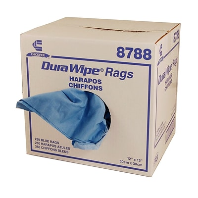 DuraWipe® Creped Blue Towels, 12 x 12, 250/Case