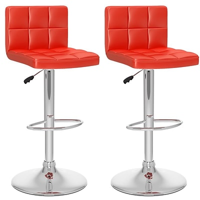 Sonax™ CorLiving™ Leatherette High Back Adjustable Barstool, Red