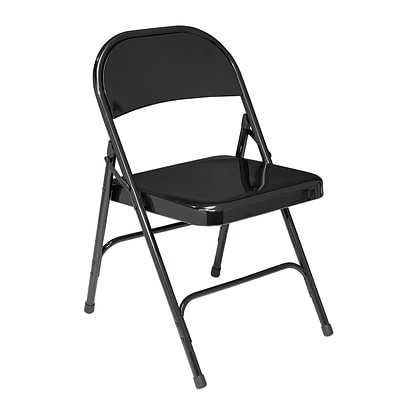 NPS #510 Standard All-Steel Folding Chairs, Black/Black - 52 Pack