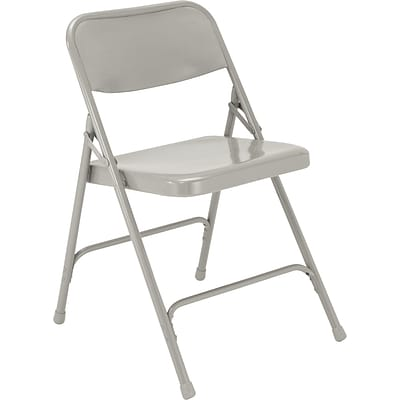 NPS #202 Premium All-Steel Folding Chairs, Grey/Grey - 100 Pack