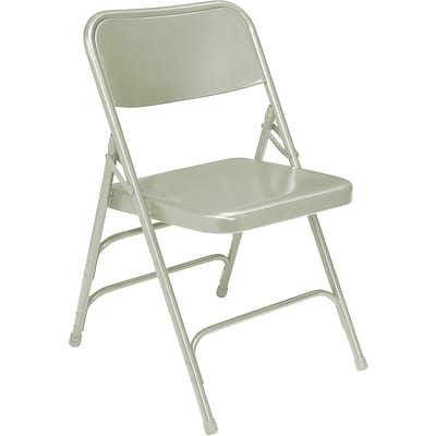 NPS #302 Premium All-Steel Brace Double Hinge Folding Chairs, Grey/Grey - 52 Pack