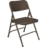 NPS #303 Premium All-Steel  Brace Double Hinge Folding Chairs, Brown/Brown - 4 Pack