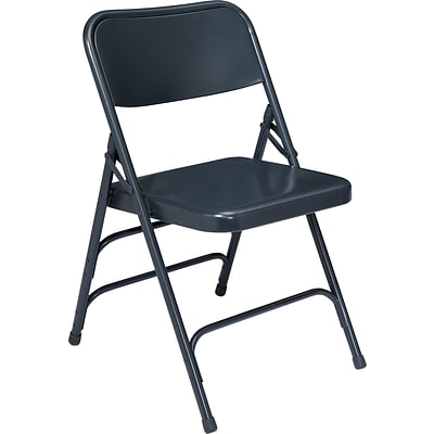 NPS #304 Premium All-Steel  Brace Double Hinge Folding Chairs, Char-Blue/Char-Blue - 100 Pack