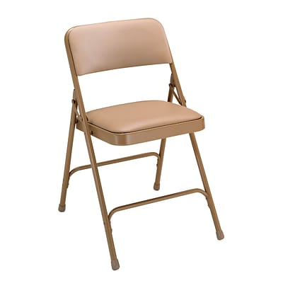 NPS #1201 Vinyl Padded Premium Folding Chairs, French Beige/Beige - 52 Pack