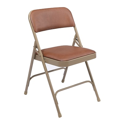NPS #1203 Vinyl Padded Premium Folding Chairs, Honey Brown/Beige - 100 Pack