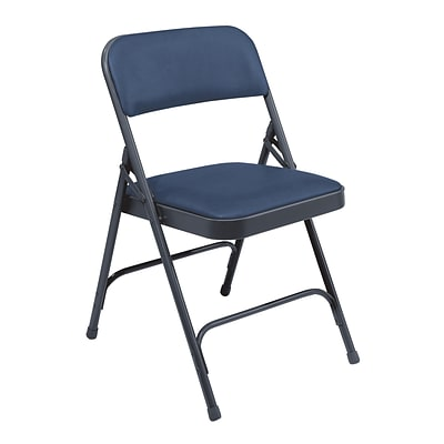 NPS #1204 Vinyl Padded Premium Folding Chairs, Dark Midnight Blue/Char-Blue - 100 Pack