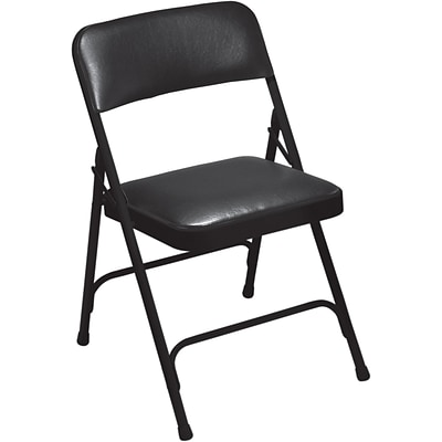 NPS #1210 Vinyl Padded Premium Folding Chairs, Caviar Black/Black - 100 Pack