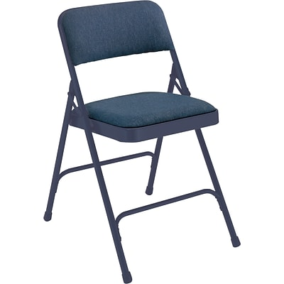 NPS #2204 Fabric Padded Premium Folding Chairs, Imperial Blue/Char-Blue - 100 Pack