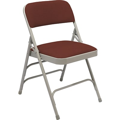 NPS #2308 Fabric Padded Triple Brace Double Hinge Premium Folding Chairs, Majestic Cabernet/Grey - 100 Pack