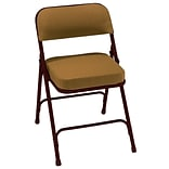 NPS #3219 2 Fabric Padded Folding Chairs, Antique Gold/Brown - 2 Pack