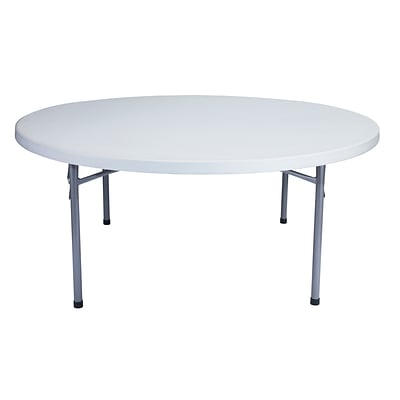 NPS® 71 Plastic Lightweight Blow Molded Round Folding Table, Speckled Gray