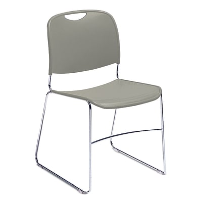 NPS #8502/4 Hi-Tech Ultra-Compact Plastic Seat/Back Stack Chair, Gunmetal/Chrome - 4 Pack