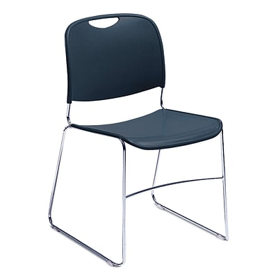 NPS #8505/4 Hi-Tech Ultra-Compact Plastic Seat/Back Stack Chair, Navy Blue/Chrome - 4 Pack