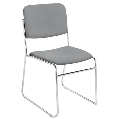 NPS #8652 Fabric Padded Stack Chair, Classic Grey/Chrome - 80 Pack