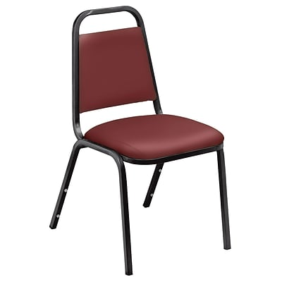 NPS #9108-B 9100 Series Standard Vinyl Upholstered Padded Stack Chairs, Pleasant Burgundy/Black - 4 Pack