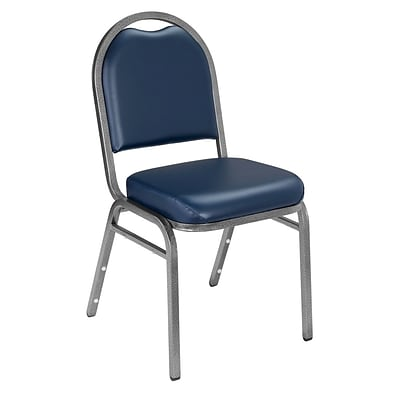 NPS #9204-SV Dome-Back Vinyl Padded Stack Chair, Midnight Blue/Silvervein - 4 Pack