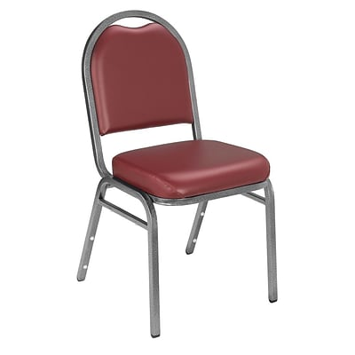 NPS #9208-SV Dome-Back Vinyl Padded Stack Chair, Pleasant Burgundy/Silvervein - 4 Pack