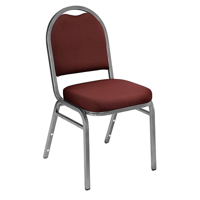 NPS #9258-SV Dome-Back Fabric Padded Stack Chair, Rich Maroon/Silvervein - 40 Pack