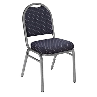 NPS #9264-SV Dome-Back Fabric Padded Stack Chair, Diamond Navy/Silvervein - 20 Pack