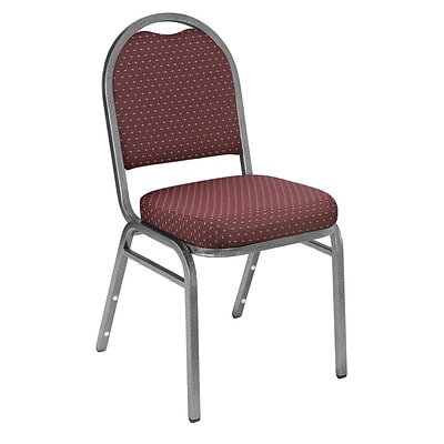 NPS #9268-SV Dome-Back Fabric Padded Stack Chair, Diamond Burgundy/Silvervein - 80 Pack