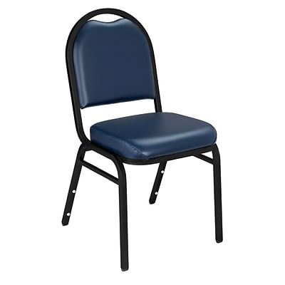 NPS #9204-BT Dome-Back Vinyl Padded Stack Chair, Midnight Blue/Black Sandtex - 4 Pack