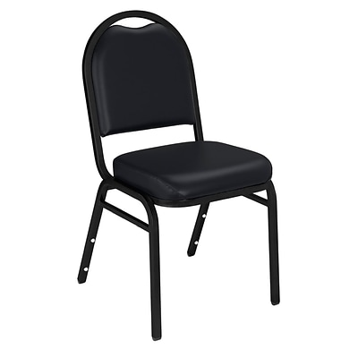 NPS #9210-BT Dome-Back Vinyl Padded Stack Chair, Panther Black/Black Sandtex - 20 Pack