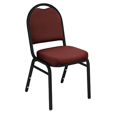 NPS #9258-BT Dome-Back Fabric Padded Stack Chair, Rich Maroon/Black Sandtex - 4 Pack