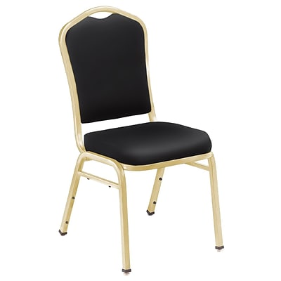 NPS #9310-G Silhouette-Back Vinyl Padded Stack Chair, Panther Black/Gold - 4 Pack