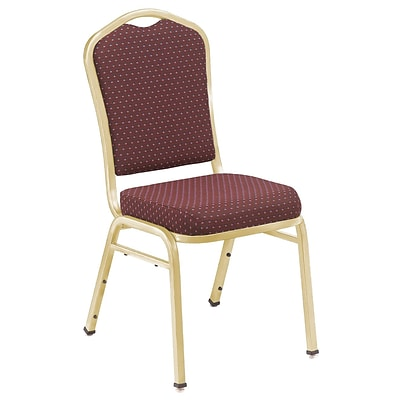 NPS #9368-G Silhouette-Back Fabric Padded Stack Chair, Diamond Burgundy/Gold - 4 Pack