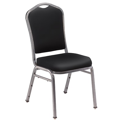 NPS #9310-SV Silhouette-Back Vinyl Padded Stack Chair, Panther Black/Silvervein - 4 Pack