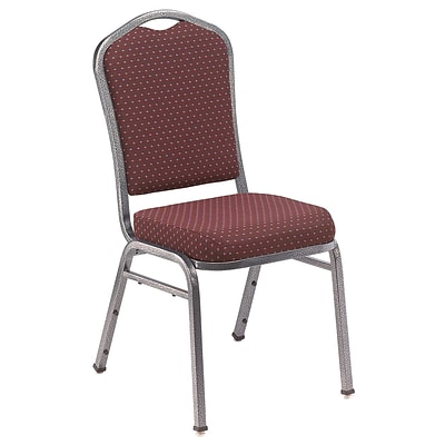 NPS #9368-SV Silhouette-Back Fabric Padded Stack Chair, Diamond Burgundy/Silvervein - 4 Pack