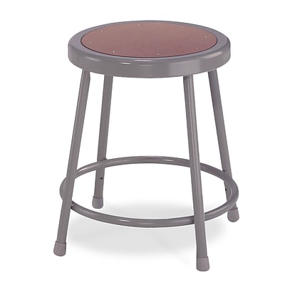 NPS® 18 Hardboard Heavy Duty Round Seat Steel Stool, Gray, 5/Pack