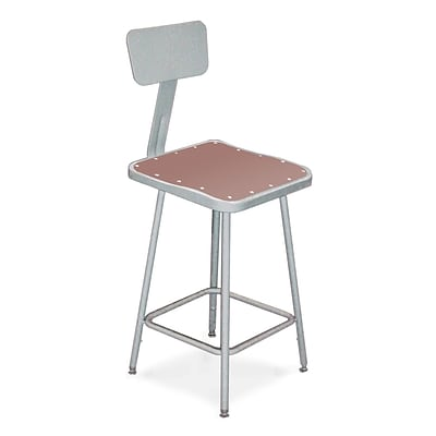 National Public Seating 18 Square Backrest Task Stool, Gray, 2/Pack (6318B2)