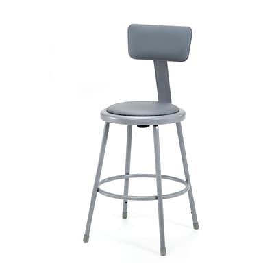 NPS® 24 Vinyl Padded Round Stool With Backrest, Gray, 4/Pack