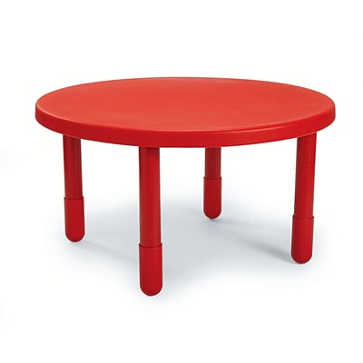 Angeles® 14 x 36 Plastic Round Value Preschool Table, Candy Apple Red