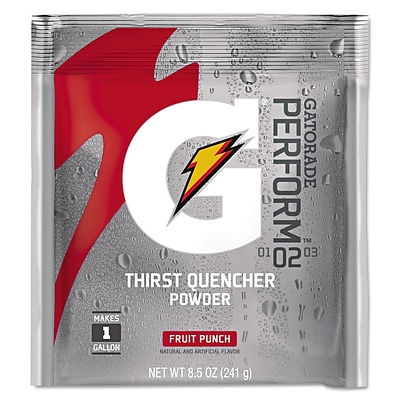 Gatorade® 1 Gal Yield Instant Powder Dry Mix Energy Drink, 8.5 oz Pack, Fruit Punch, 40/Carton