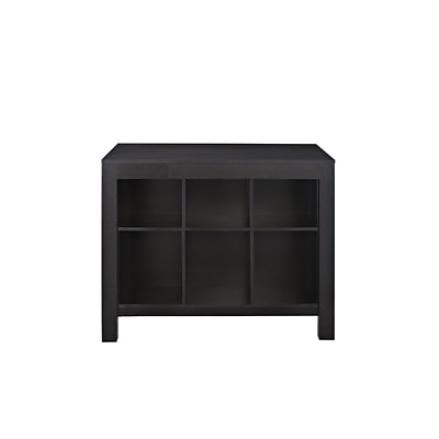 Altra Furniture Parsons Style Desk with Drawer and Bookcase; Black Oak Finish