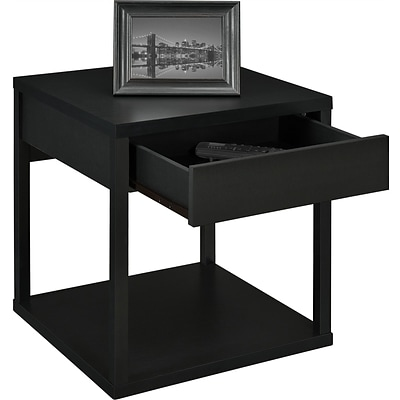 Altra Furniture Parsons Table with Drawer; Black Finish