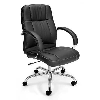 OFM Stimulus Leather Executive Office Chair, Fixed Arms, Black (517-LX-T)