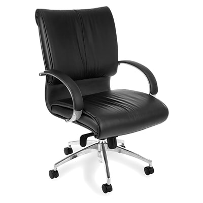 OFM™ Sharp Series Leather Executive Chair With Mid-Back, Black
